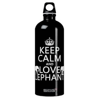 Bouteille D'eau En Aluminium Gardez le calme et aimez les éléphants (toute