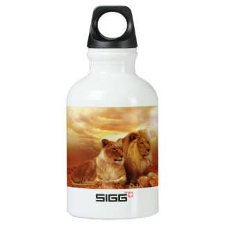 Bouteille D'eau En Aluminium Lions africains - safari - faune