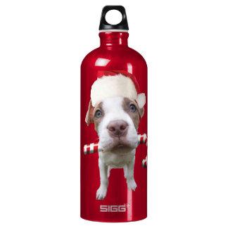 Bouteille D'eau En Aluminium Pitbull de Noël - pitbull de père Noël - chien de