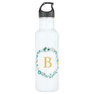 Bouteille D'eau Jaune et guirlande florale de monogramme d'Aqua