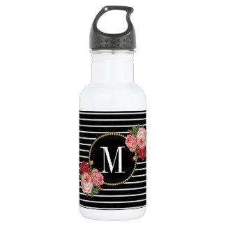 Bouteille D'eau Monogramme floral rayé noir chic Girly de Boho