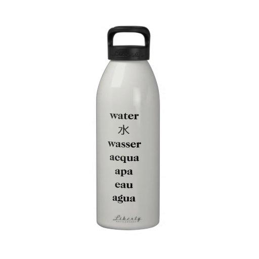 Bouteille d'eau multilingue