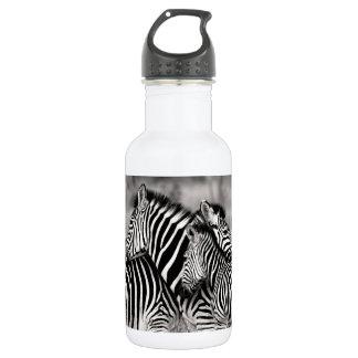 Bouteille D'eau Rayures noires et blanches de safari de nature de