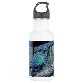 Bouteille d'eau verte et bleue de pigeon