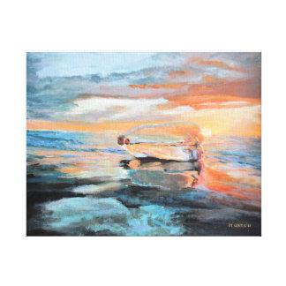 Bouteille sur la plage toile