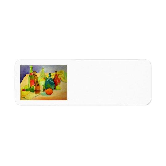 Bouteilles d'aquarelle étiquette d'adresse retour