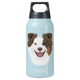 Bouteilles Isotherme Visage heureux border collie de chiens