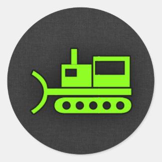 Bouteur vert Chartreuse et au néon Sticker Rond
