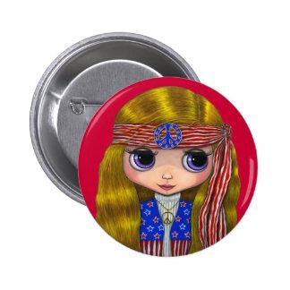 Bouton 4 juillet hippie de bannière étoilée badge rond 5 cm