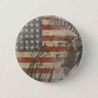 Bouton avec la statue de la liberté sur le vieux badges