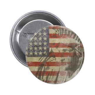 Bouton avec la statue de la liberté sur le vieux d badges