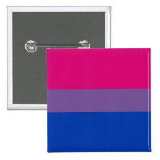 Bouton bisexuel de drapeau de fierté badge carré 5 cm