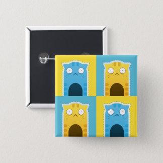 Bouton bleu de carré de chat de gingembre badge