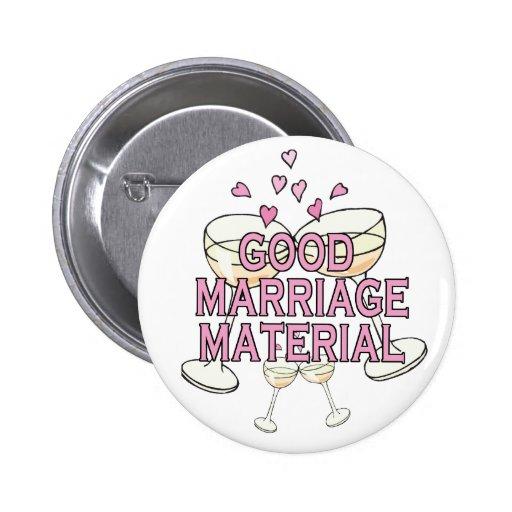 Bouton : Bon matériel de mariage Badge Avec Épingle
