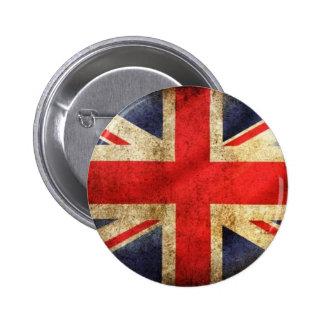 Bouton britannique grunge de drapeau centré badge rond 5 cm