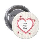 Bouton : Cadre rose de photo de coeur de dentelle Badge Avec Épingle