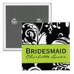 Bouton carré de demoiselle d'honneur de B&G Badges