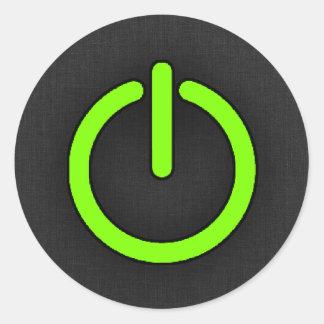 Bouton Chartreuse et au néon d'énergie verte Sticker Rond