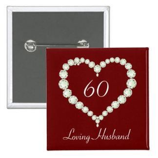 Bouton d anniversaire de diamant de coeur d amour badges avec agrafe