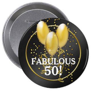 Bouton d'anniversaire de ballons d'or cinquantième badges