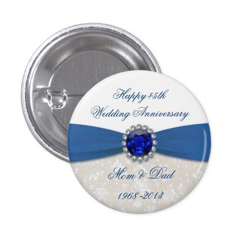 Bouton d'anniversaire de mariage de damassé quaran pin's avec agrafe