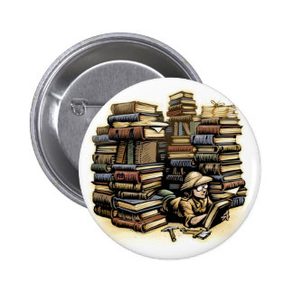 Bouton d'archéologue de livre badge