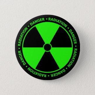 Bouton d'avertissement de rayonnement vert badges