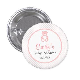Bouton de baby shower de fille - bouton rose badge