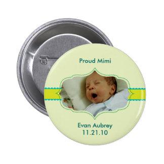 """Bouton de bébé de garçon de photo """"de préparation  badge"""