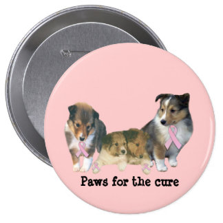 Bouton de cancer du sein de Sheltie Pin's