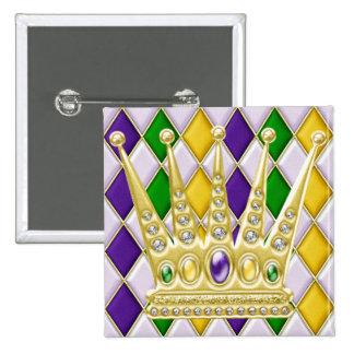 Bouton de carré de harlequin de mardi gras avec la badge