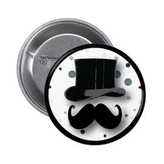 Bouton de chapeau supérieur et de moustache avec l badges avec agrafe