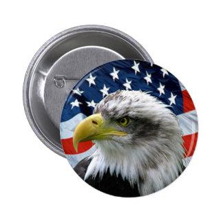 Bouton de Chauve-Eagle-Américain-Drapeau Badges