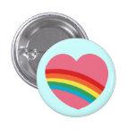 bouton de coeur de l'arc-en-ciel 80s badge avec épingle