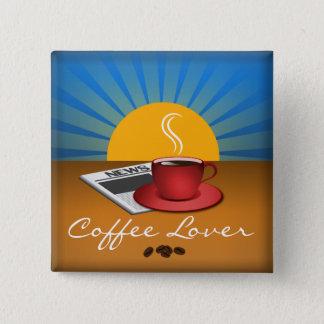 Bouton de coutume de carré de tasse de café de badge