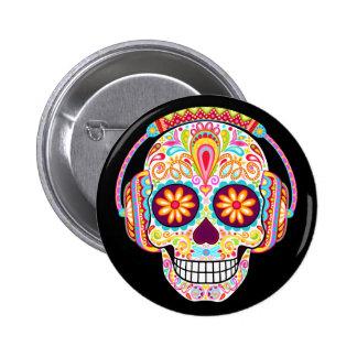 Bouton de crâne de sucre - jour du Pin mort de Badge Rond 5 Cm