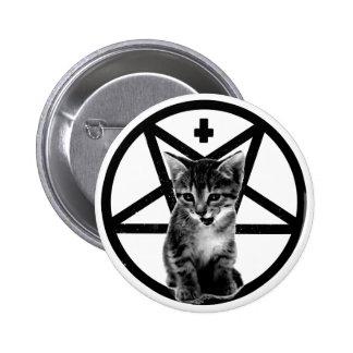 Bouton de croix inversé par chaton fâché et de pen badge