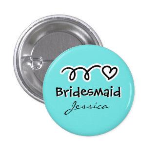 Bouton de demoiselle d honneur de turquoise badge