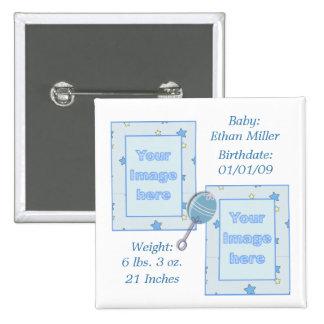 Bouton de faire-part de naissance de bébé badge carré 5 cm