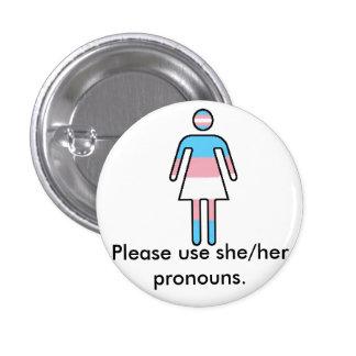 Bouton de fierté/pronom de Transwoman Pin's