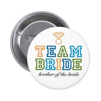 Bouton de frère de jeune mariée d'équipe badge rond 5 cm