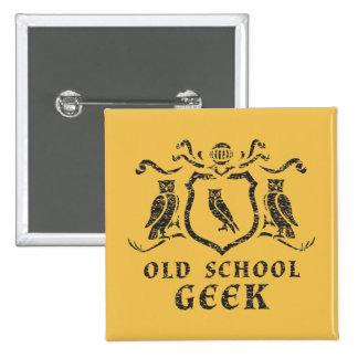 Bouton de hibou de geek de vieille école badge
