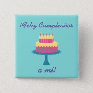 "Bouton de ""joyeux anniversaire"" de ""cumpleaños"" de badge"