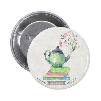 Bouton de livres et de thé badges