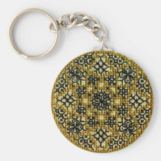 Bouton de mandala brodé par main porte-clé rond