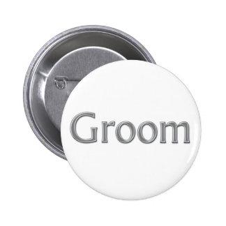 Bouton de mariage de marié badge rond 5 cm