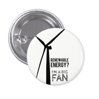 Bouton de moulin à vent d'énergie renouvelable de pin's