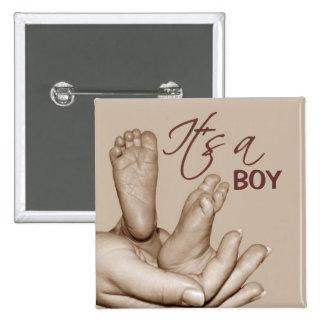Bouton de pieds de bébé badge carré 5 cm