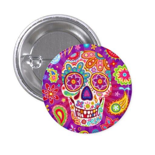 Bouton de Pin de crâne de sucre - jour de l'art mo Badge