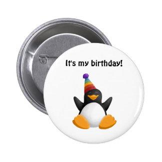 Bouton de pingouin de joyeux anniversaire badge